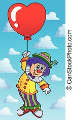 Clown with heart shaped balloon theme 2