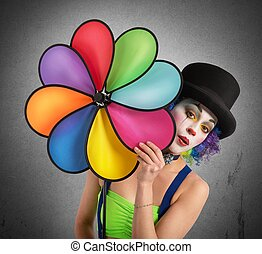 Clown with helix - Clown posing with a helix toy colored