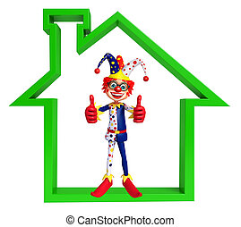Clown with Home sign