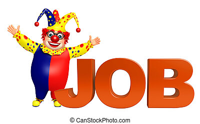 Clown with Job sign