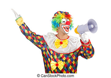 Clown with loudspeaker on white