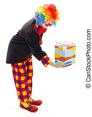 Clown with present