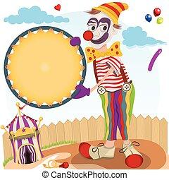 clown with round banner