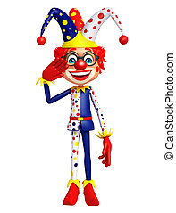 Clown with salute sign