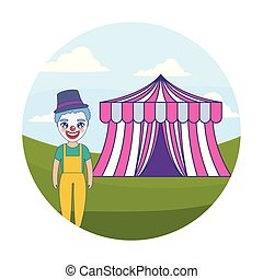 clown with tent of circus in frame circular
