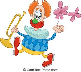 clown with trumpet cartoon