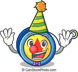Clown yoyo mascot cartoon style vector illustration