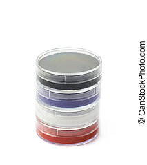Clown's makeup kit isolated