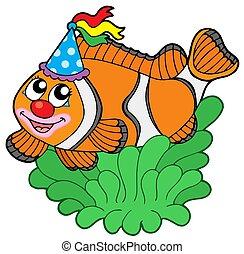clownfish, caricatura, anémona