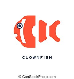 Clownfish, sea fish geometric flat style design vector Illustration