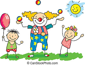 """clowni - """"Clowny"""" with two children."""