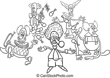 clowns cartoon characters group coloring book