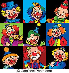 Clowns. - Funny clowns. Vector art-illustration.