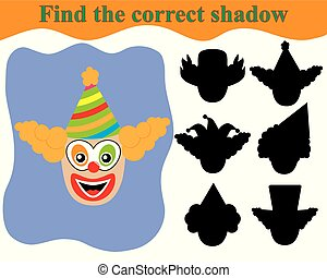 Clown's face, find the correct shadow. Educational game for children.