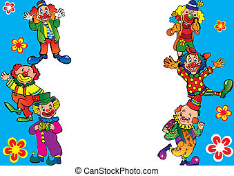 Clowns frame. - Funny clowns frame. Place for your text. ...