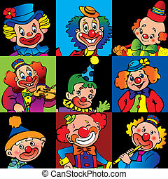 Clowns. - Funny clowns. Vector art-illustration.