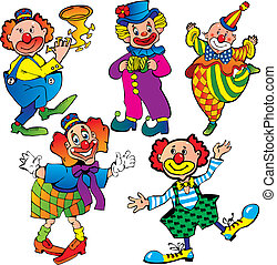Clowns. - Funny clowns. Vector art-illustration on a white ...