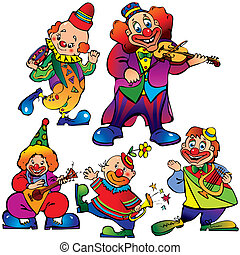 Clowns. - Funny clowns with musical instrument. Vector art-...