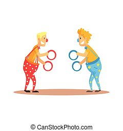 Clowns juggling with rings on a circus show. Circus or street actors colorful cartoon detailed vector Illustration