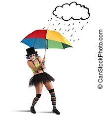 clowns, schirm, regenbogen