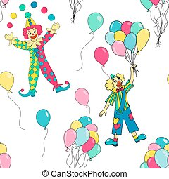 clowns seamless pattern background