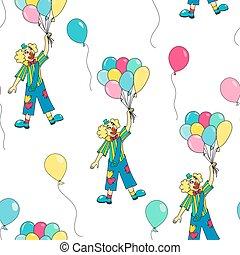 clowns seamless pattern background