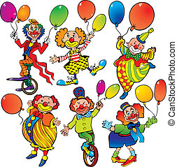 Funny clowns with balloons on a white background. Vector art-illustration.