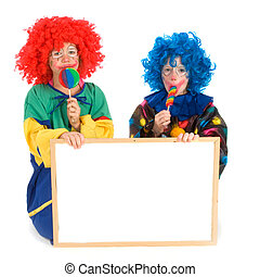 Clowns with text board - Two funny little clowns with board ...