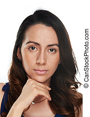 woman face on white background