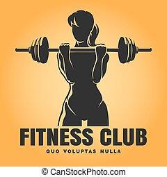 club, addestramento, donna, emblema, idoneità