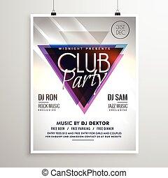 club, affiche, aviateur, musique, gabarit, invitation, fête