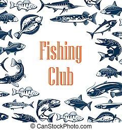 club, affiche, fish, pêche sport
