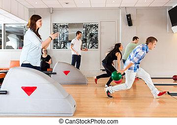 club, amis, ensemble, bowling