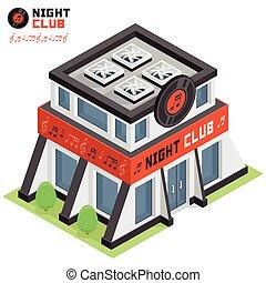 club, bâtiment, nuit