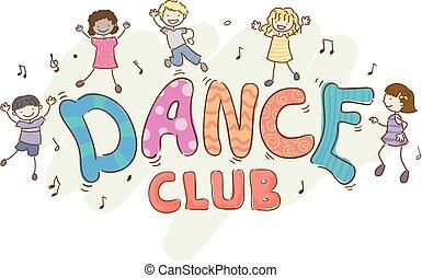 club baile, niños, stickman, ilustración