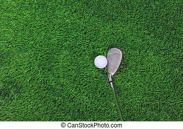 club, balle, golf, herbe, fer
