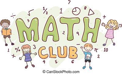 club, bambini, stickman, matematica, illustrazione