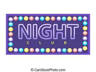 club, bannière, vif, nuit