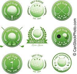 club, bannières, ensemble, golf, insignes