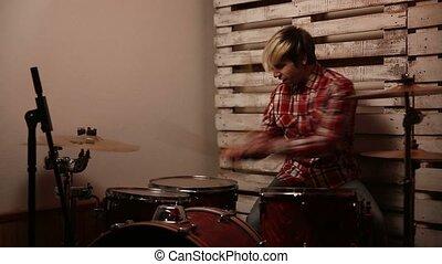 club, batteur, expressif, jouer joue tambour