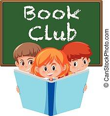 club, blanc, livre, bannière, fond