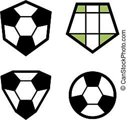 club, calcio, emblema, vettore, palla