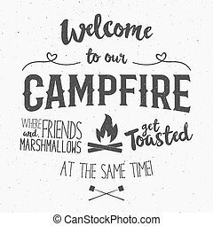 club, campeggiare, segno, bonfire., scuro, -, fondo, illustrazione, simboli, manifesti, benvenuto, web, manifesto, iscrizione, emblemi, falò, effect., vendemmia, grunge, viaggio, divertente, tipografia