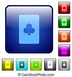 Club card symbol color square buttons