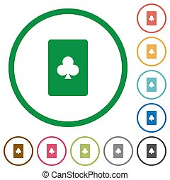 Club card symbol flat icons with outlines