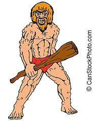 club, caveman, cartone animato, presa a terra