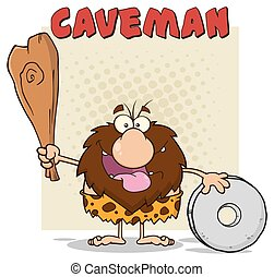 club, caveman, maschio, presa a terra, felice
