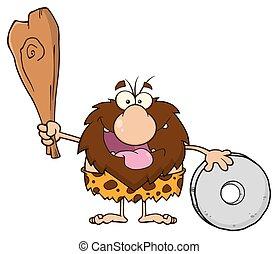 club, caveman, maschio, presa a terra