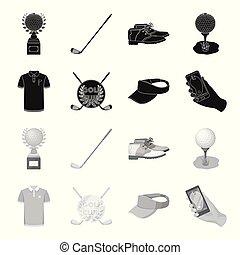 club, club, stijl, symbool, golfspeler, vizier, set, vector...
