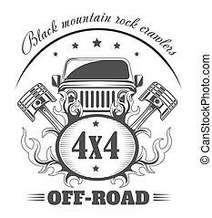 club, coche, off-road, template., vector, logotipo, 4x4, ...